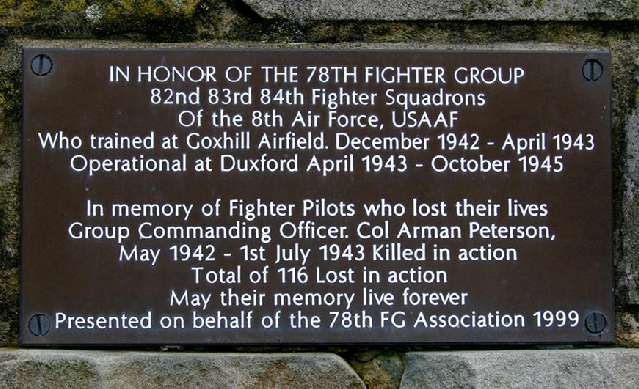 WIn honor of the 78th Fighter Group - 82nd 83rd 84th Fighter Squadrons of the 8th Air Force, USAAF who trained at Goxhill airfield.
